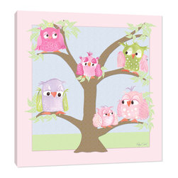 "Doodlefish - Family Tree - Family Tree is an adorable 18"" square stretched canvas featuring a graphic tree and bright, whimsical owls.  This customizable piece of artwork is a cool mix of Regina Nouvel's artwork and digital elements that look like fabric.  This piece is custom printed to order and can be printed with or without a name.  It is also available mounted in your choice of painted frames.  The finished size of the mounted piece is approximately 22""x22""."
