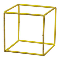 """Free Association Cube - Inside a famed 1924 De Stijl style house there are no actual rooms, but instead a changeable open zone. At just under 6"""" x 6"""" inches and in primary yellow, our cube is reminiscent of this De Stijl approach to design."""