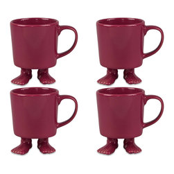Dylan Kendall - Dylan Kendall-4 Rose Ceramic Mugs w/Feet - A fantastic way to wake up with a little laughter and play or bring a smile to your afternoon pick-me-up! Its the Rose family of 4 Ceramic ! Have fun saving more!