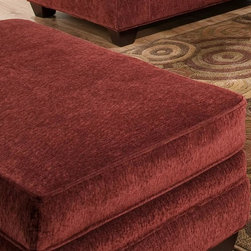 American Furniture - Upholstered Ottoman in Burgundy - Cannot be shipped to California - not compliant with CA code. Upholstered. Burgundy. 52 in. L x 30 in. W x 21 in. H