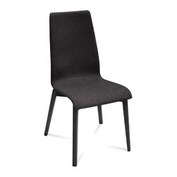 DomItalia Furniture - Jill-L Dining Chair in Dark Grey / Anthracite (Set of 2) - The shell of the chair is upholstered in wool with a four-leg base in a sturdy ashwood frame. This combination provides a dynamic contrast of materials and color. Modern dining chair offers a clean aesthetic integrated into the sleek angles and curved contours that are found both in the frame and shell. Quality Italian craftsmanship combines with minimalist design elements to produce the Domitalia Jilll-L Dining Chair in Dark Grey and Anthracite (Set of 2).