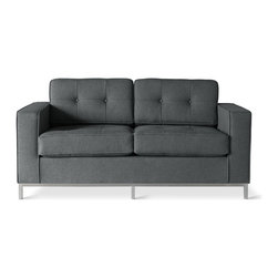 Gus Modern - Gus Modern Jane Loveseat Sofa, Urban Tweed Ink - You gotta love this classic two-seater. Plump yet firm cushions are top-stitched and button-tufted, and the sturdy, bench-made base of brushed stainless steel features mitered corners.
