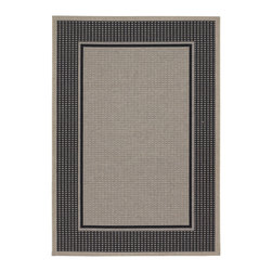 COURISTAN INC - Tides Astoria/ Black Grey Rug (3'11 x 5'7) - This sturdy, resilient fiber provides a multitude of benefits for outdoor use as it is resistant to water and the growth of mold and mildew. For added protection against sun exposure, the rug is treated with a special UV stabilization process.