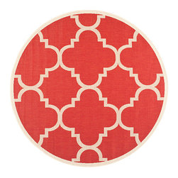 Safavieh - Courtyard Red Round: 7 Ft. 10 In. x 7 Ft. 10 In. Rug - - Safavieh takes classic beauty outside of the home with the launch of their Courtyard Collection. Made in Turkey with enhanced polypropylene for extra durability these rugs are suitable for anywhere inside or outside of the house. To achieve more intricate and elaborate details in the designs Safavieh used a specially-developed sisal weave  - Pile Height: 0.25  - Construction: Machine Made  - Easy to Clean?Just sweep vacuum or rinse off with a garden hose. Safavieh - CY6243-248-8R