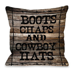 OneBellaCasa - Boots & Chaps Pillow - Add this pillow's cheeky ranch charm to the couch for a cozy dose of rustic style.   100% polyester Spot clean Made in the USA