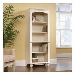 Sauder - Sauder Harbor View Library 5 Shelf Bookcase in Antiqued White Finish - Sauder - Bookcases - 158085