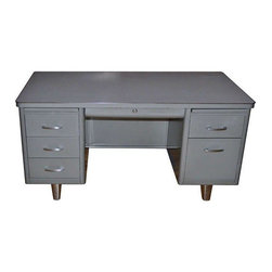 Used Mid Century Steelcase Tanker Desk Get To Work On This Mid Century Classic Grey Steelcase