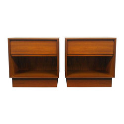 Danish Modern 1-Drawer Nightstands - A Pair - Dimensions 21.75ʺW × 16.5ʺD × 22.25ʺH