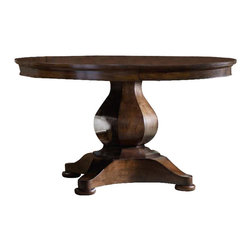 Hooker Furniture - Hooker Furniture Classique Pedestal Dining Table with Leaf in Medium Chestnut - Hooker Furniture - Dining Tables - 506775203 - Soft edges. Artful curves. Beveled turnings. Classic becomes fresh through design details and a beautiful medium chestnut colored finish on okume veneers in the Classique collection.