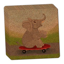 """Made on Terra - Elephant Skateboarding Thin Cork Coaster Set of 4 - You're just cleaning up after your epic party when you realize it... something's different. Unlike all those other times, you're not mopping up cup condensation from your counters and tables. This time, everyone used a coaster. Everyone. Maybe it's because you handed out a coaster with every glass. No. You've tried that before. No, this time it's because of the actual coasters. You found the cutest Made On Terra printed cork coasters. You love that everyone commented on how unique they were,  from the light-weight, thin cork material to the printing that creates a cool and subtle effect. Plus, they're really absorbent, but dry quickly. And they're made from an eco-friendly, sustainable resource, so that makes you feel pretty great, too. Choose from Made on Terra's many fabulous cork coasters. Measures 4"""" x 4"""" x 1/8"""". Made of thin cork. Super cute and nicely absorbent. Sold in sets of four."""
