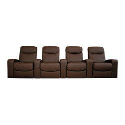 Baxton Studio - Baxton Studio Cannes Home Theater Seats (4) Brown - Plush polyurethane foam cushions, hardwood construction,  Leggett & Platt style reclining mechanism, plastic cup holders as added value, top grain leather on all the seating surfaces, vinyl leatherette matched to the back and sides.