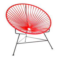 Innit Chair, Red Weave On Black Frame - This iconic chair is perfect for outdoor living, as the woven vinyl is weather poof and easy to clean. But add it to a living room scheme, and it brings the perfect pop of personality. You can order from a rainbow of colors to contrast the black base or stick with the classic all-black design for a monochromatic look.