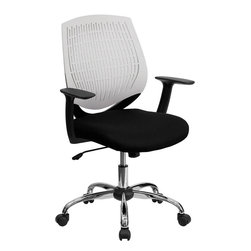 Flash Furniture - Mid-Back White Designer Back Task Chair with Arms and Chrome Base - This contemporary Designer Back Office Chair features a perforated plastic back and will keep you cool and comfortable throughout the day. This chair features a back tilt lock and pneumatic seat lift.