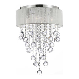 Flushmount 4-light Chrome and White Shade Crystal Chandelier Chandeliers Lightin - This beautiful Chandelier is trimmed with Empress Crystal(TM)