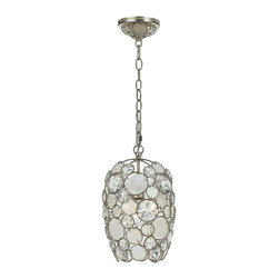 Crystorama - Crystorama 523-SA Palla 1 Light Mini Pendant With Natural White Capiz Shell And - The Palla collection, inspired by one of Dorian Webb's bracelet designs, is more elemental in nature and natural in earth tones. Palla is Italian for sphere, and the collections standout fixture is the orb-shaped design. Palla offers two hand painted fini