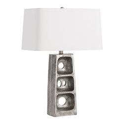 Arteriors - Geoff Lamp - This cast aluminum lamp body is exactly like the machinery part we cast it fromright down to the seam on the side. We antiqued the aluminum to add some age and then shaded it with a rounded corner white microfiber rectangle shade with a top diffuser and lined in the same material.  Takes 1 - 150 w 3-way bulb.