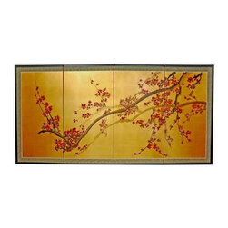Oriental Unlimited - Plum Tree on Gold Leaf Wall Art Silk Screen ( - Choose Size: 72 in. L x 0.625 in. W x 36 in. HScreens may vary slightly in color. Evoke images of the Orient with this soft and beautiful, handpainted gold leaf rendition of a blossoming plum tree. Hand painted gold leaf silk screen. Song dynasty (10th century China) brush art style. Crafted from silk covered paper, glued over four side-by-side lacquered wood frames. Matted with a fine Chinese silk brocade border. Comes with lacquered Brass geometric hangers for easy mounting. Can be displayed as a privacy screen, partly folded to stand upright on a table or floor. Note that no 2 renderings are exactly the same. Subtle, beautiful hand painted wall art for a fraction of the cost of a comparable print. 36 in. L x 0.625 in. W x 18 in. H. 48 in. L x 0.625 in. W x 24 in. H. 72 in. L x 0.625 in. W x 36 in. H