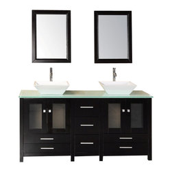 "Design Elements - Design Elements DEC072B-G Vanity in Espresso - Constructed of solid hardwood, the white porcelain vessel sinks and tempered glass countertop of the  of the 61"" Arlington, beautifully contrast the rich espresso cabinet to bring a crisp, contemporary look to any bathroom. This stylish design includes two soft-closing double-door cabinets and four drawers. A matching, detached espresso cabinet with three drawers is provided for additional storage. Included with this set are two matching espresso mirrors. The Arlington Bathroom Vanity is designed as a centerpiece to awe and inspire the eye without sacrificing quality, functionality, or durability."