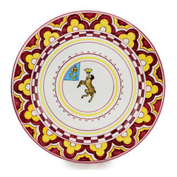 Artistica - Hand Made in Italy - PALIO DI SIENA: VALDIMONTONE (Valley of the Ram) Charger - The ''Palio di Siena'' is a tournament as a replica of a medieval horse race which is ran twice year, during the summer season, in the city of Siena, located in the beautiful Tuscany region.