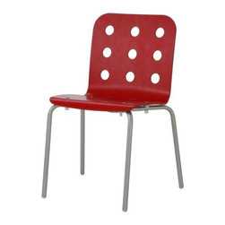 Nicholai Wiig Hansen - JULES Visitor chair - Visitor chair, red, silver color