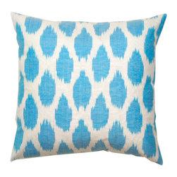 Blue Spotted Silk Pillow - This spotted silk pillow is an easy way to incorporate polka dots into a room.