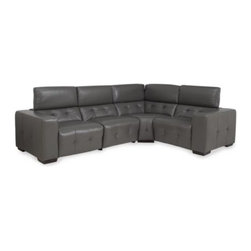 Z Gallerie - Bleeker Sectional - Suited for complete flexibility, our Bleeker Leather Collection is a new take on the fully reclining modular system. Multiple components can be combined to create anything from a stylish two or three piece reclining sofa, to the perfect home theater sectional complete with hidden reclining mechanisms and adjustable headrests. Covered in easy to clean top quality leather, the collection is practical as it is stylish.  Shown here in Grey also available in black, white or chocolate.  Chocolate is available in stores or by calling our Sales Department.