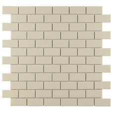 "EliteTile Retro 1-7/8"" x 7/8"" Porcelain Glazed Mosaic in Matte Biscuit & Reviews"
