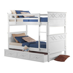 Homelegance - Homelegance Sanibel Twin over Twin Bunk Bed in White - Without Trundle - As breezy as a day at the beach, the modern cottage styling of the Sanibel collection will meld effortlessly with your casual personal style. Diamond overlay curves throughout the entire collection - capping the headboard then carrying on to the gracefully bowed case pieces. The versatility of the design lends to the perfect placement in a master suite, guest or child's bedroom. The collection is offered in Black or White.