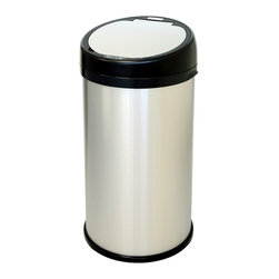 "iTouchless - iTouchless Sensor Touchless Trash Can Stainless Steel Round Extra-Wide Opening, - ""This 100% touch-free trash can creates a germ free, odor free, and automated environment. As your hand or debris approaches within 6 inches from the infrared sensor beam on top of the trash can, the lid will automatically open, then closes as you walk away. It keeps your hands clean while you are cooking or playing with your children, and helps to prevent germ contamination, which reduces the threat of illness and infections. Because the trash can turns an ordinary chore into something fun, your kids will have enjoy throwing the trash away for you. In addition, the Touchless Trashcan can outlast most manual use trash cans, because if you don't touch it, you can't break it! The iTouchless RS Model Touchless Trash Can may be the last trash can you ever buy, which will save you money, mess, and time."