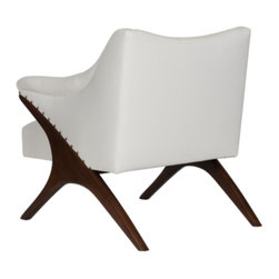 Worlds Away - Worlds Away - Don Arm Chair In Cream - The Worlds Away Don chair delivers striking mid-century modern style. An angular silhouette and exposed wood legs offer this upholstered seat contemporary intrigue.