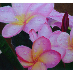 Dancing Dewdrops (Original) By Jerry Sullivan - The fragrance of the plumerias as well as the freshness of the dewdrops was my incentive to paint this beautiful little oil on canvas. Enjoy the beauty of the Hawaiian islands in your own home with this lovely artwork. Coordinating piece, search for Paradise Plumeria