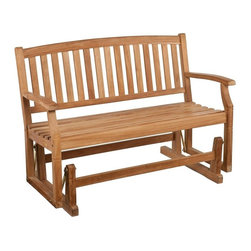 Southern Enterprises - Gideon Teak Glider Bench - The neighbors will be jealous when they see this elegant glider bench in your yard! Built to last from gorgeous teak wood, this bench will serve the family for many years to come. A smooth gliding mechanism makes this bench the perfect spot to relax, spread out, or cozy up with a friend! A warm, unstained teak finish adds splendor and comfort to your outdoor living space. Teak naturally weathers over time to a handsome, silvery gray color if kept outdoors; regular application of teak oil will maintain the light brown color of the wood. Simply clean the wood with mild soap and water when necessary. The graceful yet rustic style of this glider bench is perfect for accenting your outdoor or patio area and works well with transitional to contemporary decor. The durable teak wood will provide elegant use for many years.