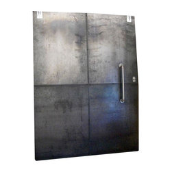 Used Industrial Galvanized Metal Sliding Door - It's custom made, galvanized sheet metal, sexy as heck and comes from a production studio. We have all the hardware, you'll need a truck with a lift gate and six sturdy guys to move this one.      Perfect for a restaurant but would hold up in an exterior application as well. Local pick up only.