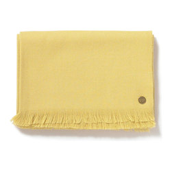 "Baby Alpaca Throw, Citron - This 100% baby alpaca woven throw is 50"" x 70"", with an additional inch on each end of the length for the delicate eyelash fringe. The piece is adorned with our signature gold St. Frank plate. Each blanket is packaged in an embossed gift box. Dry clean only."