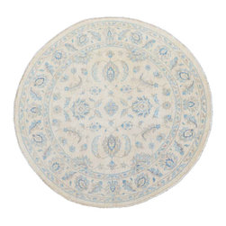 1800-Get-A-Rug - Oriental Rug Hand Knotted Rug Round White Wash Oushak Sh11793 - About Oushak and Ziegler Mahal
