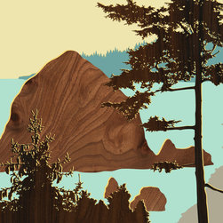 jefdesigns - Northwest Coast Prints — Cannon Beach, Oregon - Blaze your own trail. This original hand drawing takes its inspiration from the designer's many hikes through the Pacific Northwest. It breathes fresh air into your modern interiors with its bold imagery and use of wood grain.