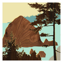 jefdesigns - Northwest Coast Prints - Cannon Beach, Or - Blaze your own trail. This original hand drawing takes its inspiration from the designer's many hikes through the Pacific Northwest. It breathes fresh air into your modern interiors with its bold imagery and use of wood grain.