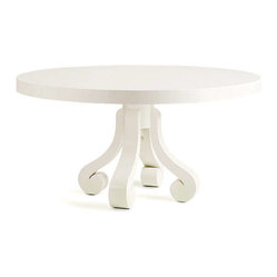 EcoFirstArt - LILLE DINING TABLE - Simultaneously substantial and airy-light, this white table is a pure delight. The curve scrolled base and high-gloss finish lend a fanciful feeling, while the round top will naturally encourage conversation in your dining space.