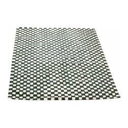 Renovators Supply - Cotton Rugs Green/White Checked Hooked Cotton Rug 6 x 9 - Checkered Rug. All cotton rug soft, thick and durable. Country checkered rug style for a casual feel. Latex protective backing, not reversible. Lightly vacuum, do not dry clean. Chemicals may damage latex backing. Hand-woven in India.