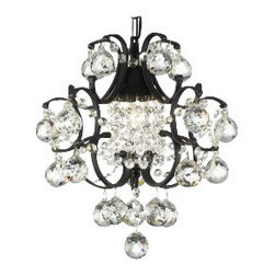 The Gallery - Wrought Iron and Mini Crystal Chandelier with Crystal Balls - The future of illumination has come to your favorite setting. A bevy of beautiful crystal balls dangles from curvy wrought iron to bring special sparkle to your decor.