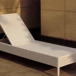 Emson Rattan Chaise Lounge - This Emson Chaise Lounge is durable through nearly all weather conditions and has an adjustable frame.