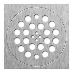 Tileredi - TileRedi DP-BN-Set SQ Trim Rnd Plate Brushed Nickel - TileRedi DP-BN-Set 14 Gauge Stainless Steel Drain Plate, 2 pieces, SQ Trim, RD Drain Plate, Brushed Nickel finish, 2 matching screws