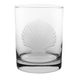 Rolf Glass - Seashell DOF 14oz, Set of 4 - Make yours a double, whether it's an actual cocktail or simply a glass of guava juice, it will taste better in these cut-glass double-old-fashioned tumblers. An iconic scallop-shell engraving will make you swear you're at the beach; listen: is that the ocean?
