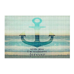 DiaNoche Designs - With You I'm Anchored Forever Area Rug - Finish off your bedroom or living space with a Woven Area Rug with a Chevron pattern weave from DiaNoche Designs. The last true accent in your home that really ties the room together. Maybe its a subtle rug for your entry way, or an artisti conversation piece in your living area, your decorative floor art will continue to dazzle for many years. MADE IN THE USA!!  Each purchase supports the artist who created the image.  1/4 inch thick. Each rug is machine loomed, washed and pre-shrunk, printed, then hemmed on the edges.   Spot treat with warm water or professionally clean. Dye Sublimation printing adheres the ink to the material for long life and durability.