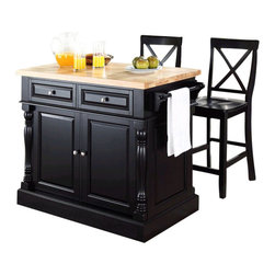 Crosley Furniture - Crosley Oxford Butcher Block Top Kitchen Island with Stools in Black - Crosley Furniture - Kitchen Carts - KF300063BK