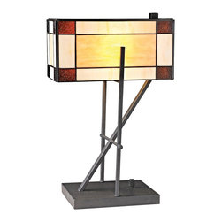 "Lamps Plus - Tiffany Ft. William Angular Tiffany Style LED Table Lamp - This artistic architectural table lamp has a vintage look but is illuminated with modern LED technology. The angular metal body in deep bronze finish is topped with an enclosed rectangle art glass shade crafted from individual pieces of colorful art glass. The LED module is easy to replace ensuring years of usage. A rectangular base completes this spectacular look. Architectural style LED table lamp. Deep bronze finish base. Tiffany style cut glass enclosed shade. Metal construction body. Base switch. Includes an easy-to-replace 9.5 watt integrated LED array. Light output is 800 lumens equivalent to a 60 watt incandescent bulb. 20"" high. Shade is 12"" wide and 6"" high. Base is 12"" wide and 6"" deep.  Architectural style LED table lamp.  Deep bronze finish base.  Tiffany style cut glass enclosed shade.  Metal construction body.  Base switch.  Includes an easy-to-replace 9.5 watt integrated LED array.  Compact small table lamp.   Light output is 800 lumens equivalent to a 60 watt incandescent bulb.  20"" high.  Shade is 12"" wide and 6"" high.  Base is 12"" wide and 6"" deep."