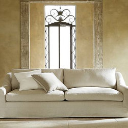 """Windsor Slipcovered Grand Sofa, Down-Blend Wrap Cushions, Washed Linen-Cotton La - Perfect for gathering the family together or putting guests at ease, our Windsor Grand Sofa is the height of comfort. Its wide roll arms and deep seats welcome relaxation. The two-over-two cushion arrangement adds a clean look that maximizes seating. 105"""" w x 43"""" d x 36"""" h {{link path='pages/popups/PB-FG-Windsor-3.html' class='popup' width='720' height='800'}}View the dimension diagram for more information{{/link}}. {{link path='pages/popups/PB-FG-Windsor-4.html' class='popup' width='720' height='800'}}The fit & measuring guide should be read prior to placing your order{{/link}}. Down-blend wrapped cushions provide a casual and relaxed look. Proudly made in America, {{link path='/stylehouse/videos/videos/pbq_v36_rel.html?cm_sp=Video_PIP-_-PBQUALITY-_-SUTTER_STREET' class='popup' width='950' height='300'}}view video{{/link}}. For shipping and return information, click on the shipping info tab. When making your selection, see the Special Order fabrics below. {{link path='pages/popups/PB-FG-Windsor-5.html' class='popup' width='720' height='800'}} Additional fabrics not shown below can be seen here{{/link}}. Please call 1.888.779.5176 to place your order for these additional fabrics."""