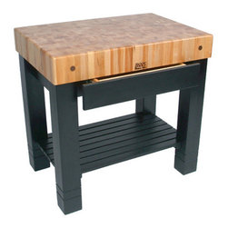 "John Boos - American Heritage Homestead Prep Table with Butcher Block Top - Features: -Proudly made in the USA.-5'' Thick end-grain work surface.-Powerful aesthetic presence.-Full-size drawer concealed neatly in the apron.-Slatted lower shelf for extra storage.-Solid hard rock maple construction.-Natural maple base finish.-Cream finish with beeswax.-Please Note: John Boos products with a varnique finish require a John Boos cutting board during food preparation to prevent damage to the finish.-Product Type: Kitchen island/prep table.-Collection: American Heritage.-Counter Finish: Hard rock maple, boos block cream finish with beeswax.-Hardware Finish: Zinc coated.-Distressed: No.-Powder Coated Finish: No.-Gloss Finish: Yes.-Base Material: Maple.-Counter Material: Hard rock maple.-Solid Wood Construction: Yes.-Stain Resistant: No.-Warp Resistant: No.-Exterior Shelves: Yes -Number of Exterior Shelves: 1..-Drawers Included: Yes -Number of Drawers: 1.-Push Through Drawer: No.-Drawer Glide Extension: Yes.-Dovetail Joints: Yes.-Drawer Dividers: No..-Cabinets Included: No.-Towel Rack: No.-Pot Rack: No.-Spice Rack: No.-Cutting Board: Yes.-Drop Leaf: No.-Drain Groove: No.-Trash Bin Compartment: No.-Stools Included: No.-Casters: No.-Wine Rack: No.-Stemware Rack: No.-Cart Handles: No.-Finished Back: Yes.-Commercial Use: Yes.-Recycled Content: No.-Eco-Friendly: No.-Product Care: Wipe with mild soap & water & must oil butcher block top every 2-3 weeks.-Country of Manufacture: United States.Dimensions: -Overall Height - Top to Bottom: 34"".-Overall Width - Side to Side: 36"".-Overall Depth - Front to Back: 24"".-Countertop Thickness: 5"".-Countertop Width - Side to Side: 36"".-Countertop Depth - Front to Back: 24"".-Shelving: Yes.-Drawer: Yes.-Cabinet: No.-Stool: No.-Overall Product Weight: 260 lbs.Assembly: -Assembly Required: Yes.-Tools Needed: Ratchet/ wrench.-Additional Parts Required: No.Warranty: -One-year warranty against defects in workmanship and materials.-Product Warranty: 1 year limited warranty on workmanship and material."
