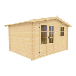 Autumn 12 x 12 Wood Shed - ECO Garden Sheds. All natural wood 12 x 12 Traditional wooden garden house / storage shed -- Autumn. 12 x 12 Wood Shed front view A.
