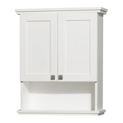 Wyndham Collection - Eco-Friendly Bathroom Wall Cabinet in White Finish - Two functional doors. 12 stage wood preparation, sanding, painting and finishing process. Highly water-resistant low V.O.C. sealed finish. Deep doweled drawers. Fully-extending under-mount soft-close drawer slides. Plenty of storage space. Practical floor-standing design. Concealed soft-close door hinges. Engineered to prevent warping and last a lifetime. Exterior hardware brushed chrome finish. Made from zero emissions solid oak hardwood. Minimal assembly required. 25 in. W x 9.13 in. D x 30 in. HThe Acclaim wall cabinet, completely original and part of the Wyndham Collection Designer Series by Christopher Grubb, is a great way to add a little storage space to your bathroom oasis. This ergonomic and elegant wall cabinet is designed to be placed over the toilet or used as extra wall storage just where you need it most.